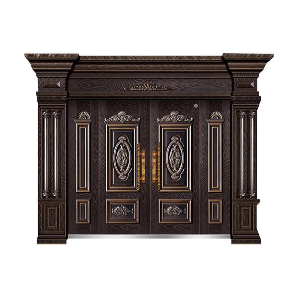 别墅大门系列 GLL-F-1803精雕木纹