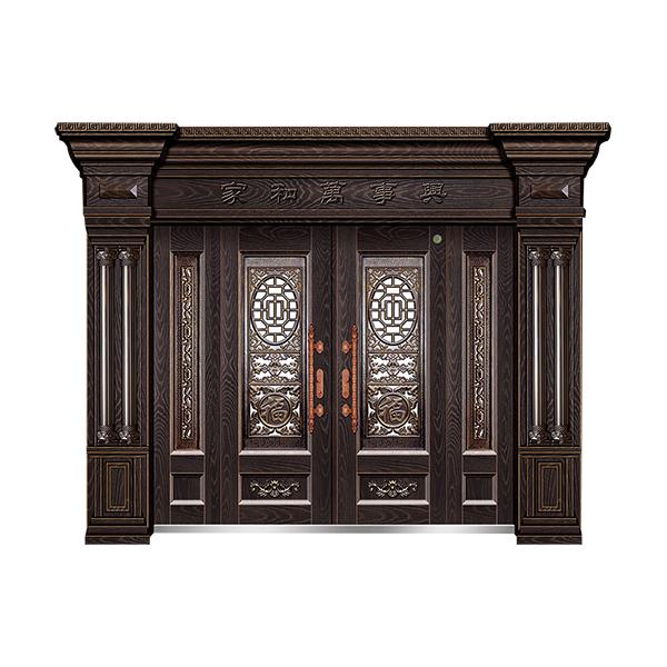 别墅大门系列 GLL-F-1802精雕木纹