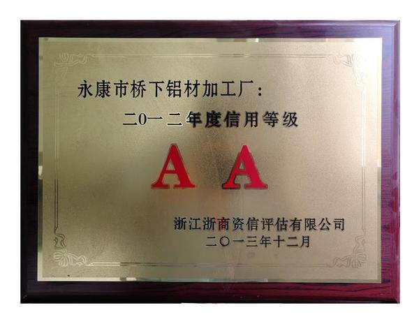 2012年度信用等级AA