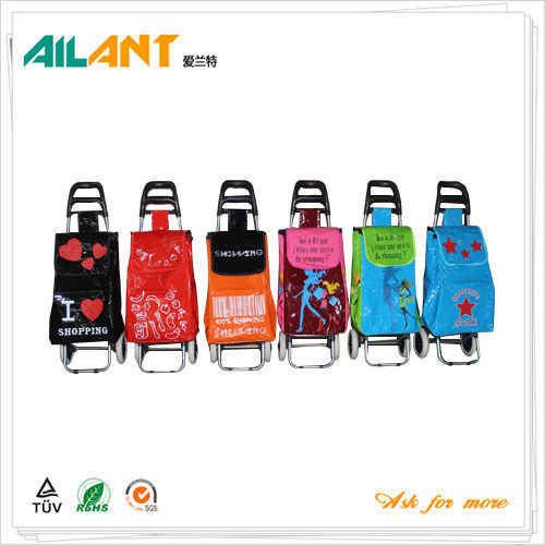 PVC Shiny fabric  shopping trolley ELD-C402-6