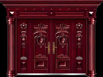 私人定制豪华非标门-8022正凸工艺门(红叶紫檀)