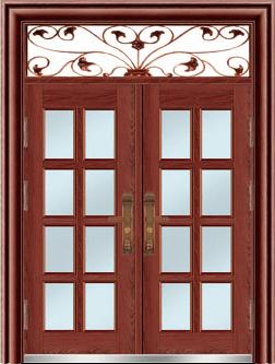 私人定制豪华非标门-8057拼接玻璃门(磨砂转印)