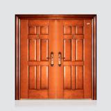 非标门 -喜安仿铜木纹对开门