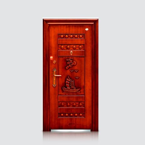 防盗安全门-福安仿红铜门(平板)