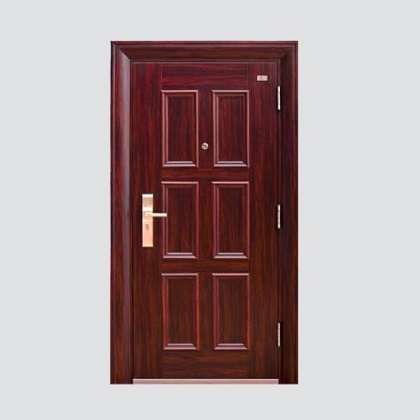 防盗安全门-精品六福门(磨砂+紫檀木)