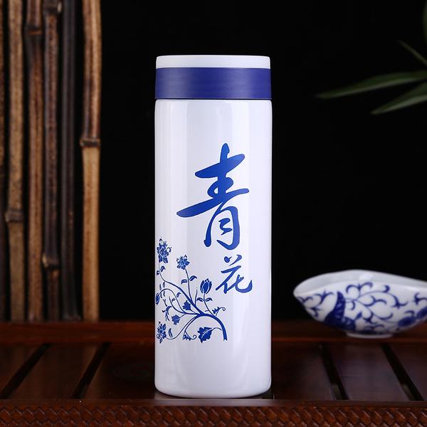 创意青花瓷水杯陶瓷图文保温杯广告宣传礼品杯日用百货杯子批发