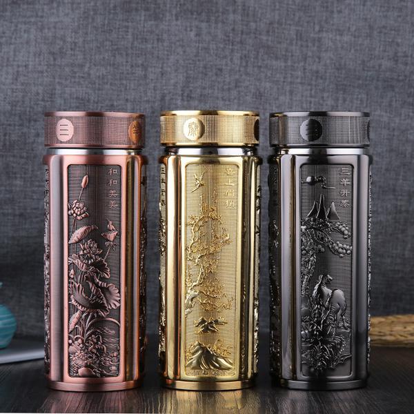 厂家直销钛金保温杯锌合金办公高档商务礼品杯真空雕刻茶杯带礼盒