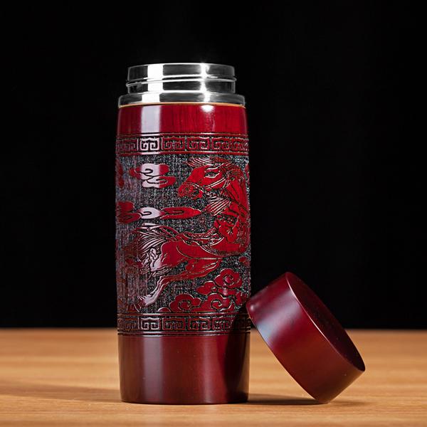 创意红豆杉保健杯水杯高端纯银保健杯木雕银杯子商务礼品