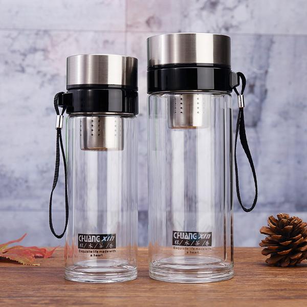 2018创意新款玻璃茶杯茶水隔离吊杯便携户外车载杯商务馈赠礼品杯