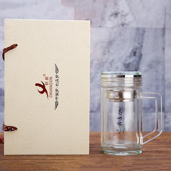 双层厚底防烫玻璃茶杯办公休闲带手柄凯时k66捕鱼精品广告礼品定制礼盒