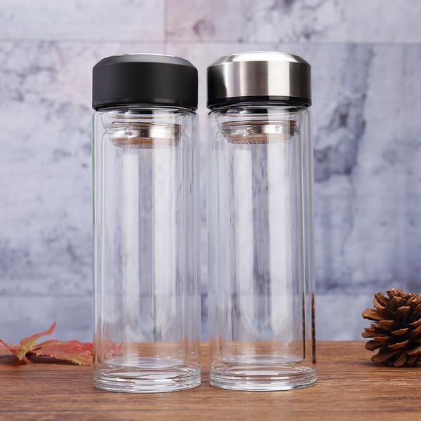 工厂直销双层简约直身玻璃杯办公休闲水果茶杯时尚便携随手玻璃杯