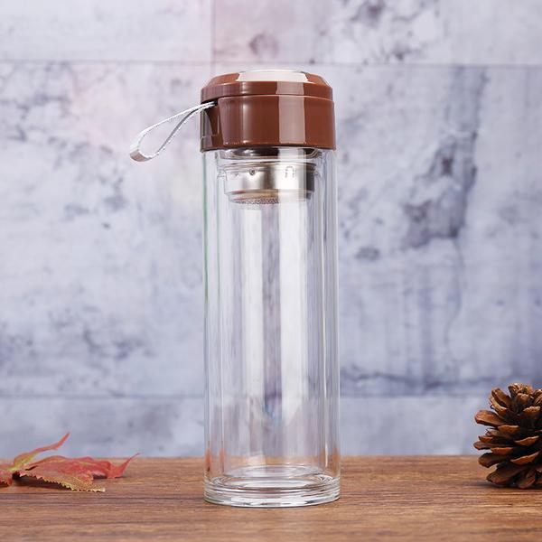 厂家直销经典双层简约玻璃杯带茶隔便携吊带杯时尚广告促销礼品杯