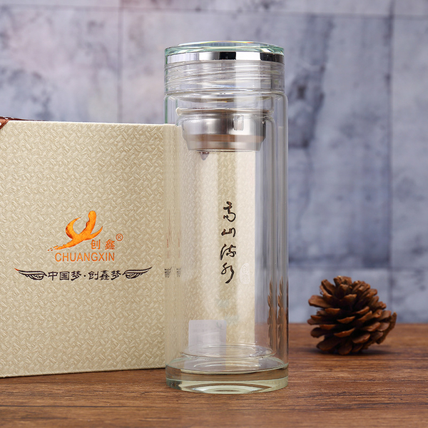 2018新款双层玻璃杯广告礼品杯工厂直销可印LOGO防烫便携办公茶杯
