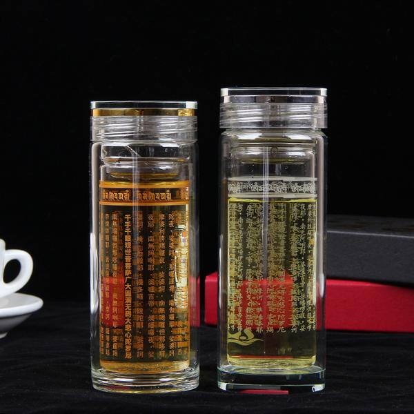 新款创意双层玻璃杯透明水杯定制LOGO大悲咒玻璃杯泡茶礼品杯批发