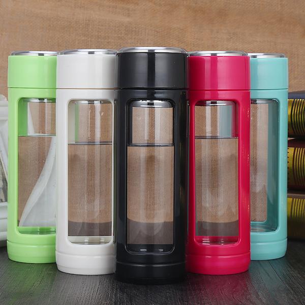 双层便携水杯创意塑料杯办公杯子