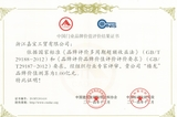 中国门业品牌价值评价结果证书