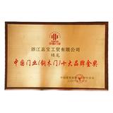 中国门业(钢木门)十大品牌金奖