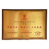 中国门业(钢质门)十大金奖