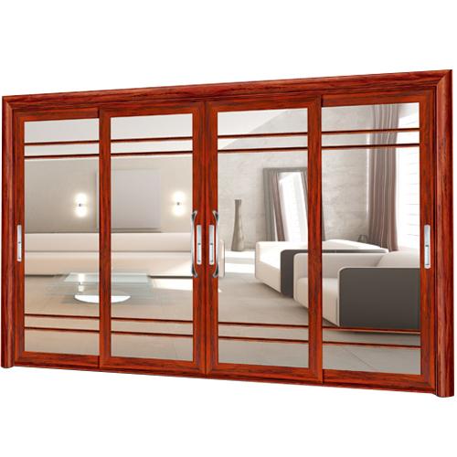 卫浴门-9101-红酸枝重型推拉门-格条