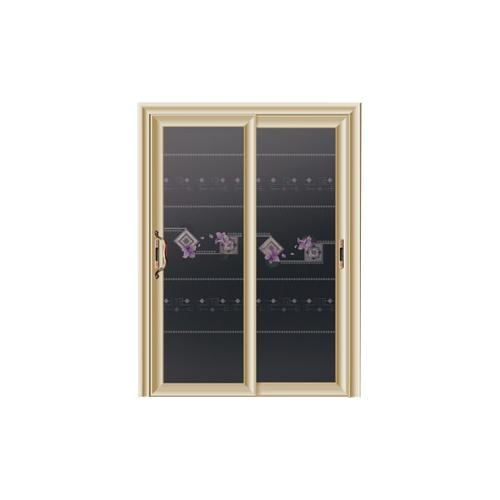 卫浴门-7102-钻石紫金金弧推拉门-3D车刻