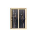 卫浴门 -7101-钻石紫金金弧推拉门-3D车刻