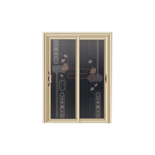 卫浴门-7101-钻石紫金金弧推拉门-3D车刻