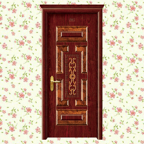 钢木门-XLL-187(花开富贵)加州红橡