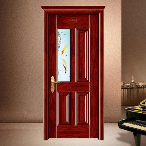 钢木门-XLL-147-1(金古玻璃门)花梨木