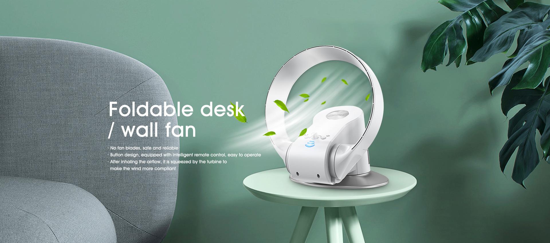 Foldable desk / wall fan