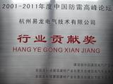 2011年度中国防雷高峰论坛荣获行业贡献奖