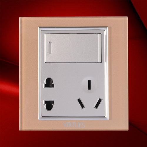 一位双控开关带二、三极插座-F07-1KS23C