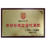 2013年度劳动管理信得过单位