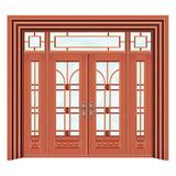 豪华铜铝门系列 -GYJ-870(拼花玻璃门)红铜1号