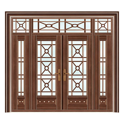 豪华铜铝门系列-GYJ-872(拼花玻璃门)紫铜2号
