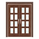 豪华铜铝门系列 -GYJ-883(拼花玻璃门)紫铜2号