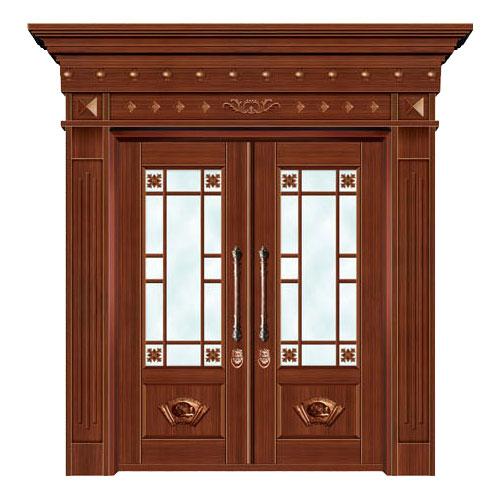 豪华铜铝门系列-GYJ-862(拼花玻璃门)红铜2号