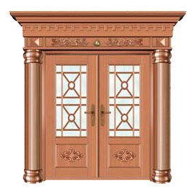豪华铜铝门系列-GYJ-866(拼花玻璃门)真铜1号