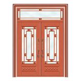 豪华铜铝门系列 -GYJ-887(拼花玻璃门)红铜1号