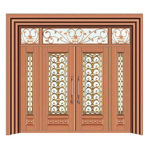 豪华铜铝门系列-GYJ-873(拼花玻璃门)真铜1号