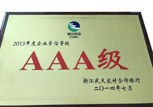 2013年度企业资信等级aaa级