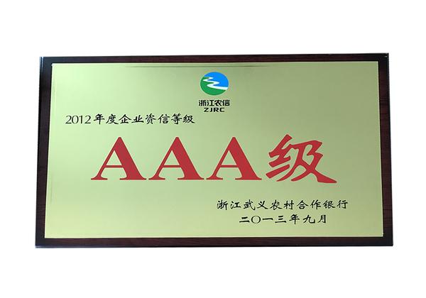 2012年度企业资信等级aaa级