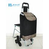 普通带椅爬楼购物车 -XDZ02-3X(黑拼色丁6#豹纹)