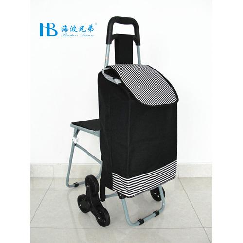 普通带椅爬楼购物车-XDZ02-3X(黑拼色丁黑白迷你彩条)
