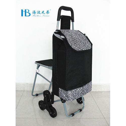普通带椅爬楼购物车-XDZ02-3X(黑拼色丁11#豹纹)