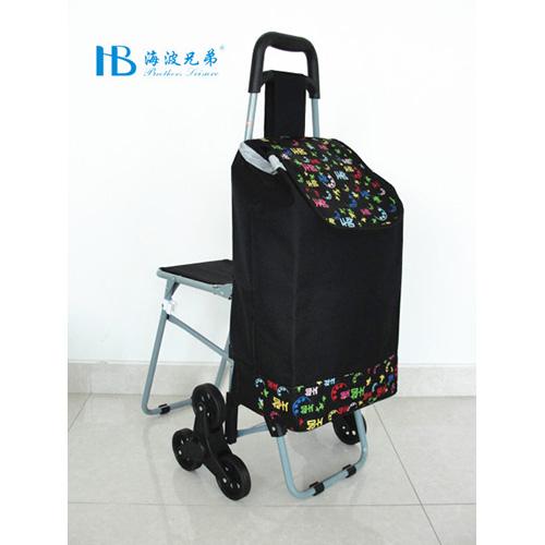普通带椅爬楼购物车-XDZ02-3X(黑拼色丁韩文字)