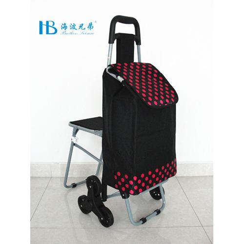 普通带椅爬楼购物车-XDZ02-3X(黑拼色丁黑梅小圆点)