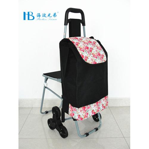 普通带椅爬楼购物车-XDZ02-3X(黑拼PU富贵花)