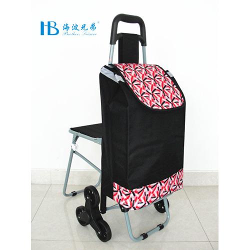 普通带椅爬楼购物车-XDZ02-3X(黑拼色丁玫红烟花)