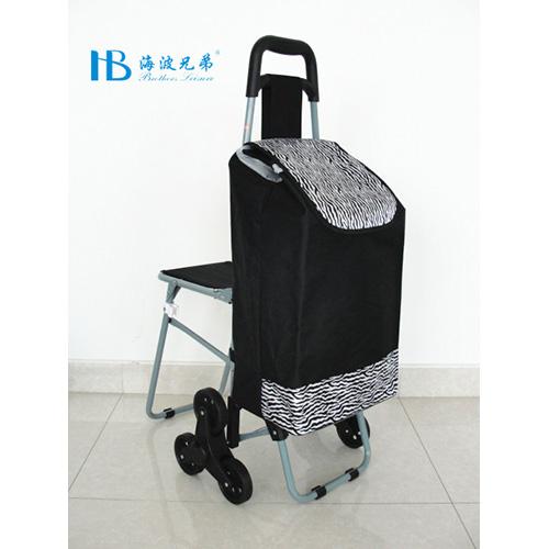 普通带椅爬楼购物车-XDZ02-3X(黑拼色丁斑马纹)