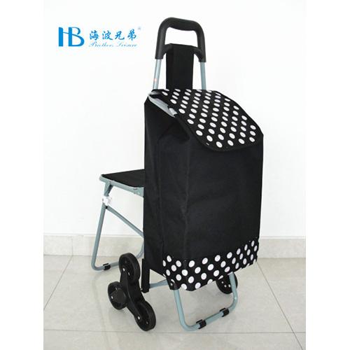 普通带椅爬楼购物车-XDZ02-3X(黑拼色丁黑白小圆点)